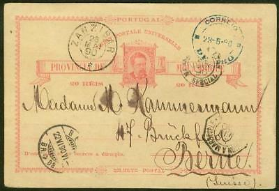 Nyassa forerunner 1890 Mozambique 20r card/IBO cancel
