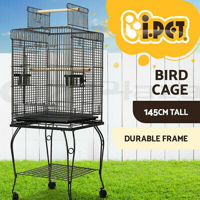 i.Pet 145cm Bird Cage Parrot Aviary Pet Stand-alone Budgie Perch Castor Wheels L