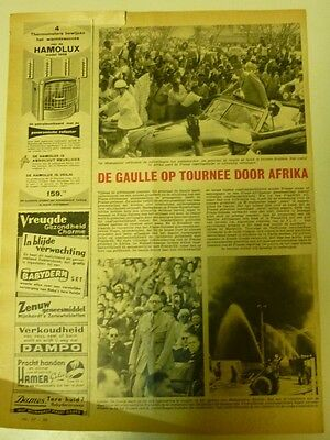 Dutch 1958 magazine clipping 1 p: De Gaulle on tour in Africa