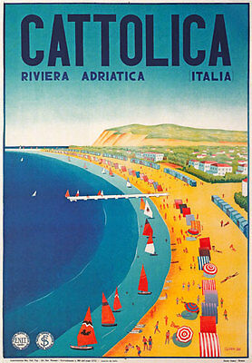 TV31 Vintage 1930's Italian Italy Cattolica Riviera Travel Poster Re-Print A4