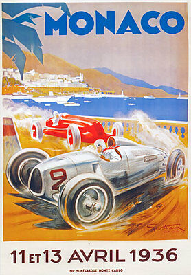 AV36 Vintage 1936 Monaco Grand Prix Motor Racing Poster Re-Print A4