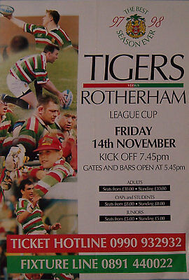 LEICESTER v ROTHERHAM RUGBY TEAM POSTER 1997