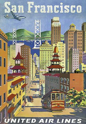 TW26 Vintage 1950's San Francisco America Travel Poster Re-print A4