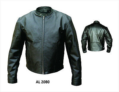 Mens black and orange Cowhide Leather Scooter jacket with zipout liner and side lace AL 2082