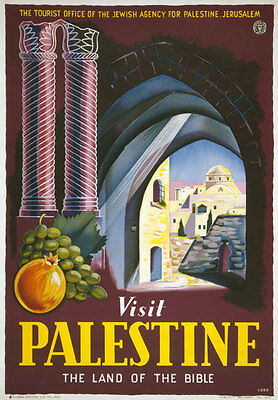 TW62 Vintage 1940's Visit Palestine Land Of Bible Travel Poster Re-Print A4