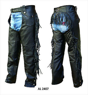 Ladies Womens Black Aniline Leather Lined Motorcycle Chaps with Fringe