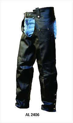 Mens or Unisex Black Leather Lined Traditional Motorcycle Chaps