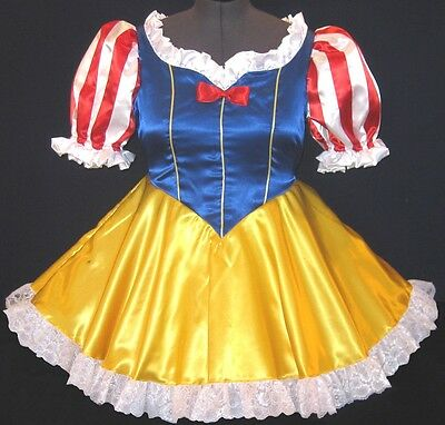 Custom Fit Satin Snow White Adult Baby Sissy Dress Costume LEANNE