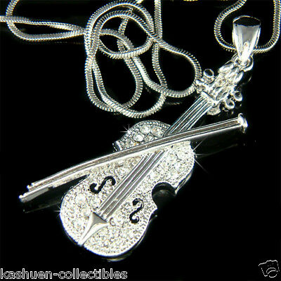 w Swarovski Crystal Fiddle VIOLIN Bow MUSIC musical Jewelry Pendant Necklace New