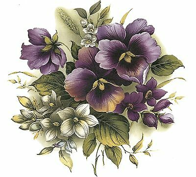 Purple Pansy Pansies Flower Center Select-A-Size Waterslide Ceramic Decals Bx