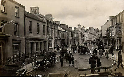 Narberth. Street & Carriages by ? Mortimer Allen, Photo., Tenby. Three Men.