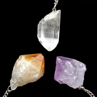 Natural Raw Crystal Gemstone Point Dowsing Pendulum Scrying Divination Dowser