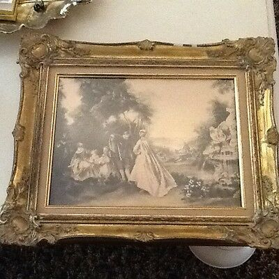 Antique Reverse Victorian Painting On Glass Outstanding Scene  Old Gold Frame
