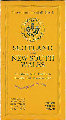 SCOTLAND v NEW SOUTH WALES, AUSTRALIA 1927 RUGBY PROGRAMME 17 Dec at MURRAYFIELD