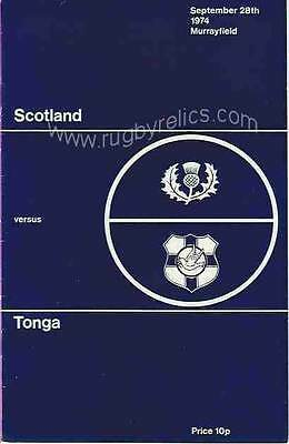 SCOTLAND v TONGA 1974 RUGBY PROGRAMME 28 Sep at MURRAYFIELD