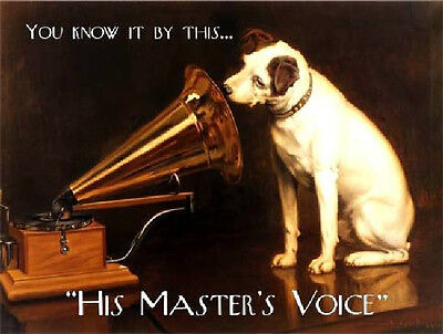 His Master's Voice Hmv Vintage Antique Style Bar Pool Mancave Metal Wall Sign