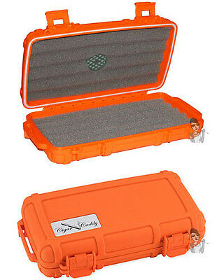Cigar Caddy 5 Stick Travel Humidor with Free Cutter and Solution Safety Orange