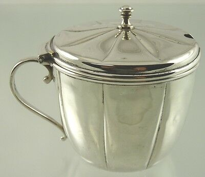 Plain Ribbed Sterling Mustard Pot With Cranberry Glass Liner By International Co