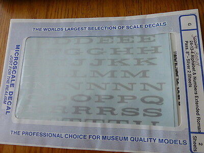 "Microscale Decal #30014 Alphabet & Numbers Extended Roman Pass 8"" Silver"