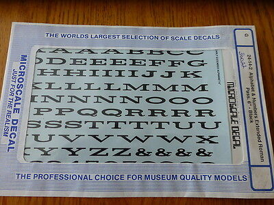 """Microscale Decal #30022 Alphabet & Numbers Extended Roman Pass 6"""" Black"""
