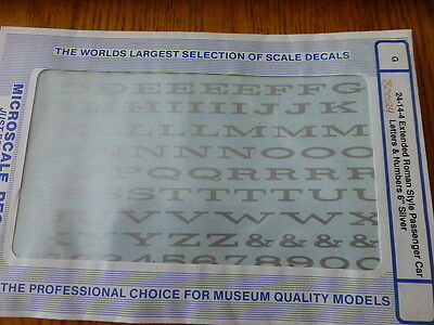 "Microscale Decal #30024 Extended Roman Style Pass Car Letters & Numbers 6"" Silve"