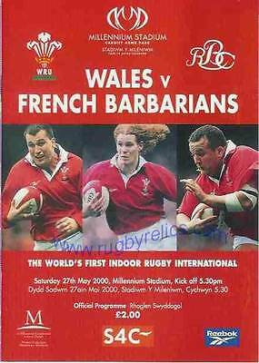 WALES v FRENCH BARBARIANS 2000 RUGBY PROGRAMME 27 May at CARDIFF