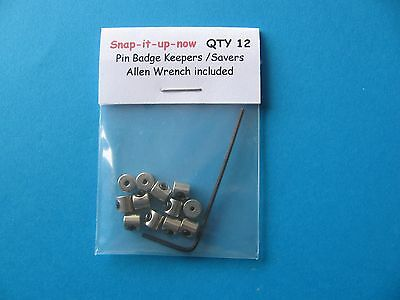 12 Pin Badge Keepers / Locks, replace butterfly back fixings to keep badge safe.