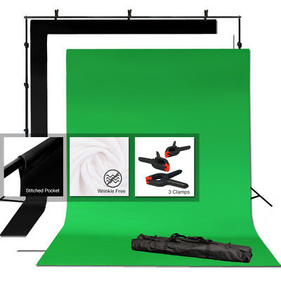Photography 6x9ft Backdrop Stand Kit Green Screen Black White with Clamps