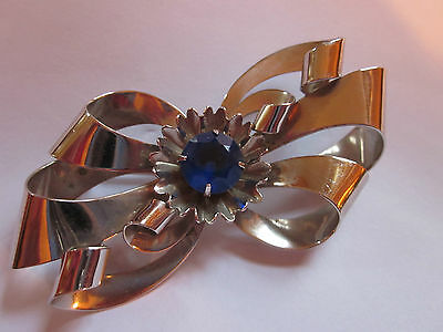 Wonderful Antique  Large Art Deco  Sterling Silver Bow Pin   24.4 grams