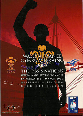 WALES v FRANCE 2006 RUGBY PROGRAMME 18 Mar at CARDIFF