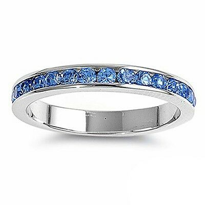 Blue Topaz Stackable Eternity Wedding Anniversary Band .925 Sterling Silver