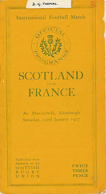 SCOTLAND v FRANCE 1927 RUGBY PROGRAMME 22 Jan at MURRAYFIELD
