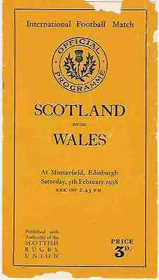SCOTLAND v WALES 1938 RUGBY PROGRAMME 5 Feb at MURRAYFIELD