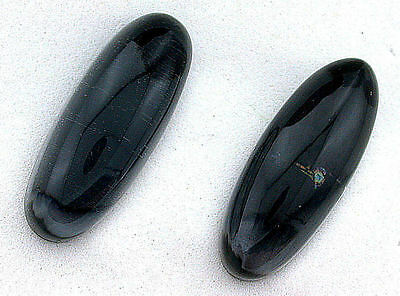 32mm x 12.5mm Enlongated Oval Highdome Doublet Hematite Quartz Cabochon B22A45