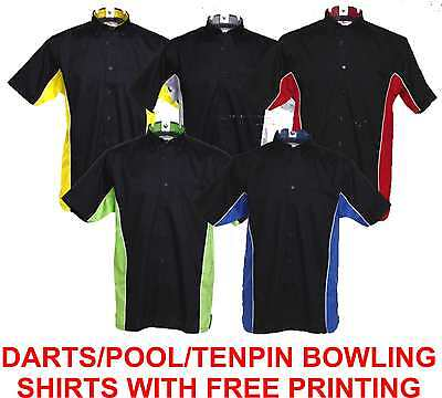 Darts Pool Tenpin Bowling Team Shirt With Free Printing 5 Colours All Sizes