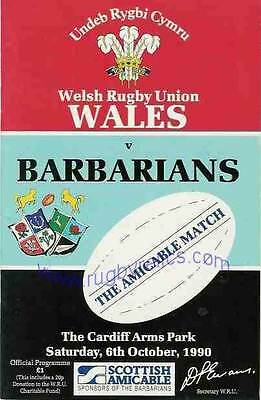 WALES v BARBARIANS 1990 RUGBY PROGRAMME 6 Oct at CARDIFF