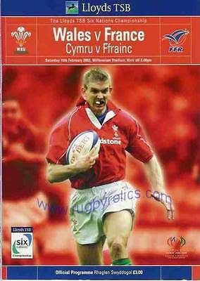 WALES v FRANCE 2002 RUGBY PROGRAMME 16 Feb at CARDIFF