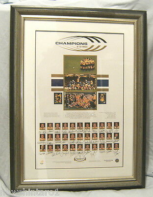 Rugby Union Framed Poster Signed By Australian Wallabies, 1999 World Champions