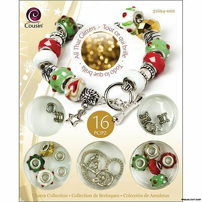 Cousin All That Glitters Holiday Bead Charm Bracelet Kit Complete -NEW!