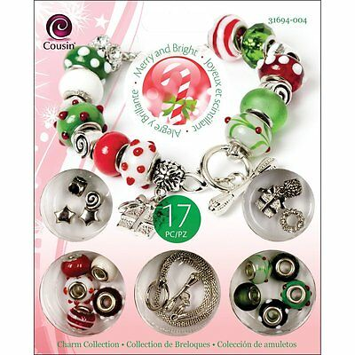 Cousin Merry and Bright Holiday Bead Charm Bracelet Kit Complete -NEW!