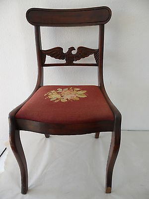 Antique Needle Point Chair with Carved Eagle on Back