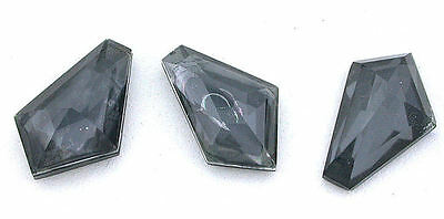 20.5mm x 12mm Fancy Faceted Hexagon Doublet Hematite Quartz Gemstone Gem B21A12