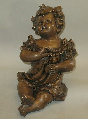 """Large 14"""" Antique Victorian Bronzed Plaster Sculpture of a Baby  c. 1900"""