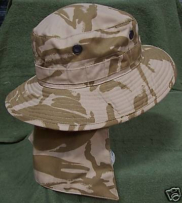 NEW - Army Issue Desert Camo Bush Hat - Size 59cm - with removable neck cover.