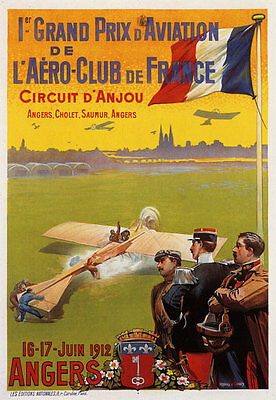 AV7 Vintage 1912 French Aviation Airplane Grand Prix Poster Re-Print A4