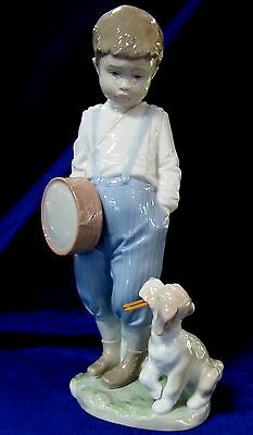 Lladro #6846 Friendly Duet Bnib Boy Dog Drum Music Rare $180 Off Free Shipping