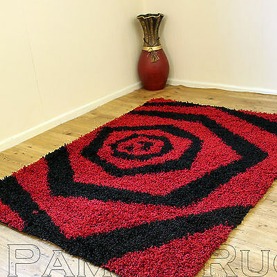 Small - Extra Large Modern Thick 5Cm High Pile Red Black Whirlpool Design Rug