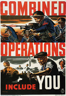 WB23 Vintage WW2 Combined Operations Include You British World War Poster A4