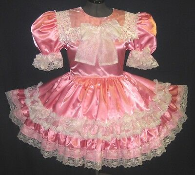 *CUSTOM Fit* PINK Satin Organza BOWS Adult Baby Sissy Dress LEANNE