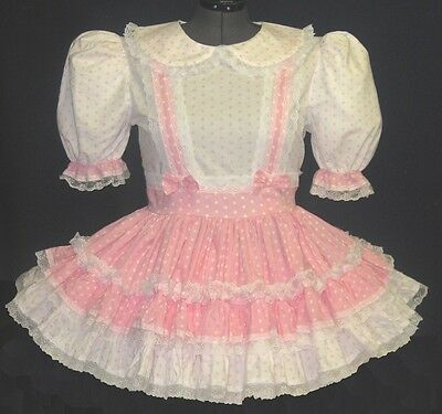 Cute Pink & White Polka Dot Adult Baby Sissy Dress *Custom Fit* LEANNE